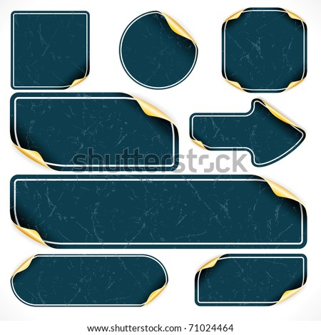 Vintage black stickers and labels, with damaged surface, vector template for your text or design
