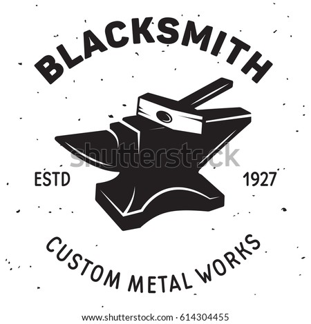 Vintage blacksmith labels and design elements with hammers anvil horseshoe and inscriptions. Isolated vector illustration.