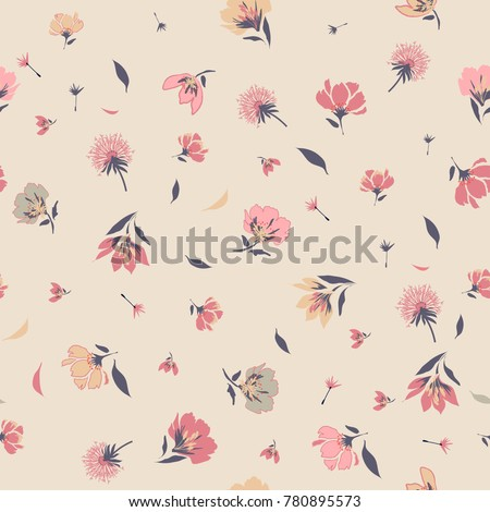 Vintage Blossom  Floral pattern in the blooming botanical  Motifs scattered random. Seamless vector texture. for fashion prints. Printing with in hand drawn style on pink  background