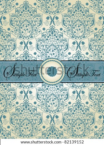 vintage blue damask invitation card - stock vector