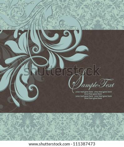 vintage blue damask invitation with floral elements
