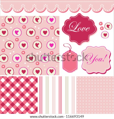 Vintage blue pattern, frames and cute romantic backgrounds