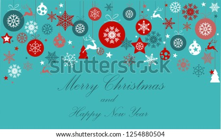 Vintage blue, red and silver Christmas frame with elements, snow on blue turquoise background. EPS10 vector file. Snowflakes, stars with text Merry Christmas. Frame for a Christmas card - Shutterstock ID 1254880504