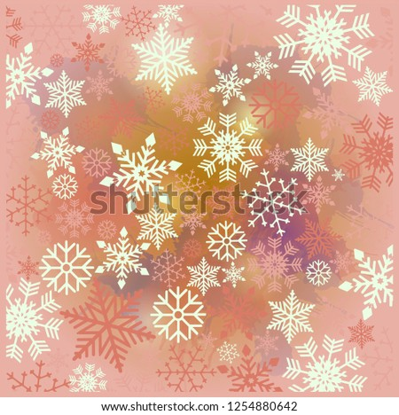 Vintage blue, red and silver Christmas frame with elements, snow on watercolor background. EPS10 vector file. Snowflakes, stars. Merry Christmas. Frame for a Christmas card - Shutterstock ID 1254880642