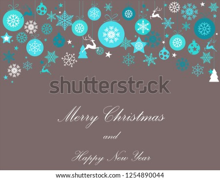 Vintage blue, turquoise and silver Christmas frame with elements, snow on gray background. EPS10 vector file. Snowflakes, stars with text Merry Christmas. Frame for a Christmas card - Shutterstock ID 1254890044