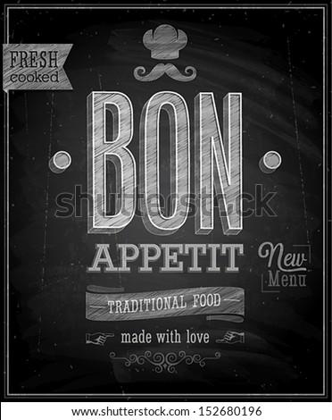 Vintage Bon Appetit Poster Chalkboard Vector illustration