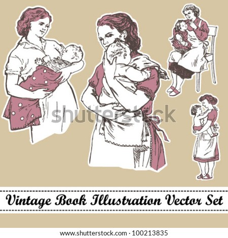 Vintage book illustration mother and child vector set