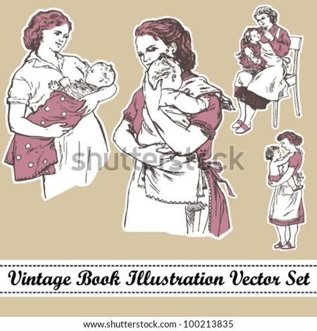 vintage book illustration...