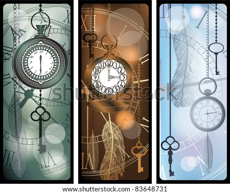 Vintage bookmarks with watches and feathers - stock vector