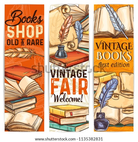 Vintage bookshop sketch banner of old and rare book and literature. Ancient parchment scroll, book and manuscript with retro quill pen and inkwell for bookstore label or library flyer design