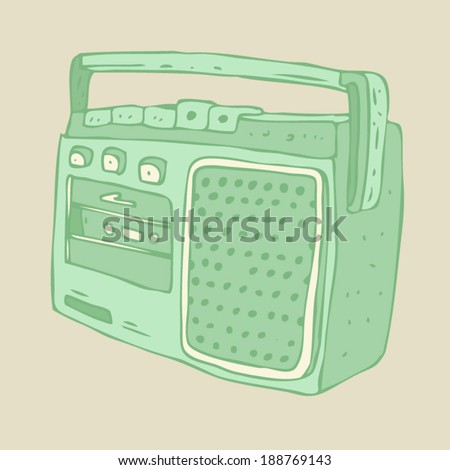 vintage boombox (recorder) vector illustration, hand drawn