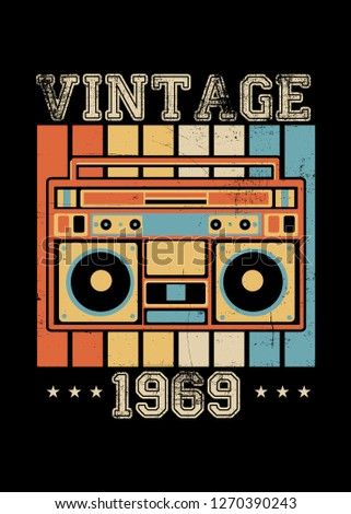 vintage 1969 boombox retro poster apparel distressed