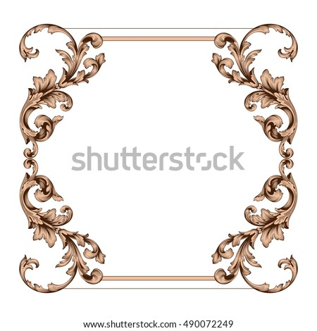 Vintage border frame engraving with retro ornament pattern in antique rococo style decorative design. Royal element of Design on a white background. You can use for wedding invitation. Border vector.