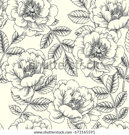Vintage botanical seamless pattern. Vector hand drawn illustration of hip rose. Floral texture. Background with wild flowers and branches with leaves. Sketch style