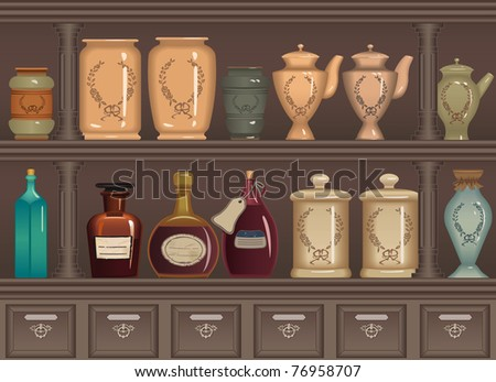 Vintage bottles and jars in the pharmacy cabinet