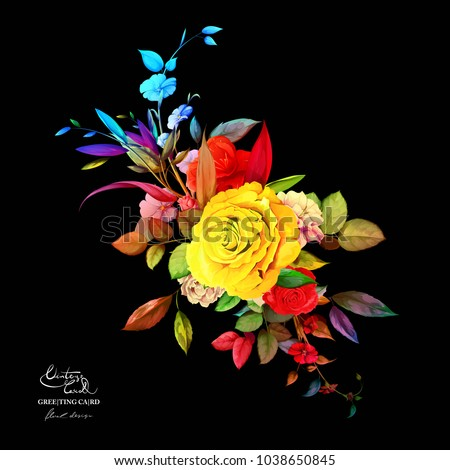 Vintage bouquet of roses with wild flowers, leaf  on black. Hand drawn art work. Vector stock.