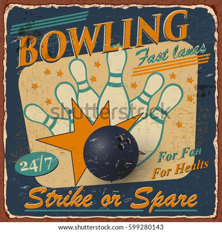 vintage bowling  poster.
