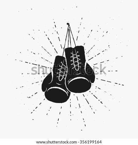 vintage boxing gloves hanging