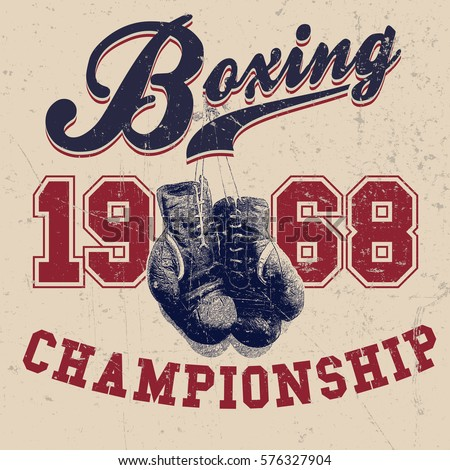 vintage boxing gloves vector...