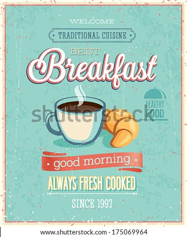Vintage Breakfast Poster. Vector illustration.