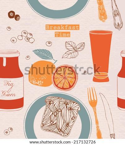 Vintage Breakfast Poster. Vector illustration. Breakfast including bread, jam, orange juice and fruits.