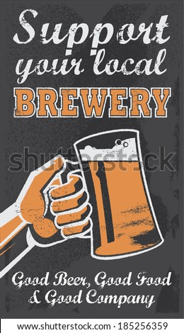 Vintage Brewery Beer Poster - Chalkboard Vector Illustration Sign. Support your local brewery. Removable texture.