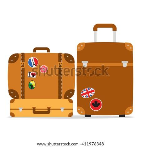 vintage brown leather travel...