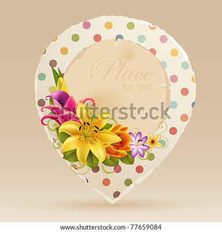 Vintage bubble for speech with flowers and place for text