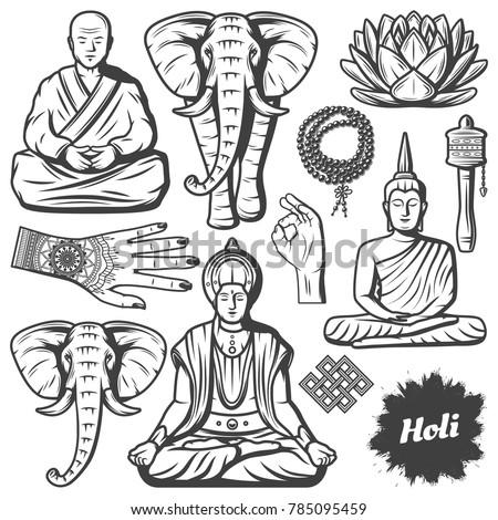 stock-vector-vintage-buddhism-religion-elements-set-with-buddha-monk-elephant-rosary-religious-beads-lotus