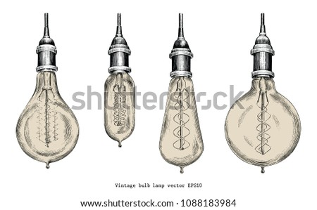 Vintage bulb lamp hand drawing engraving style