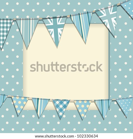 Vintage bunting background on a blue polka dot frame