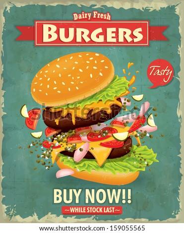 vintage burger poster design