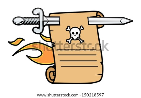 Vintage Burning Parchment Scroll Message - Vector Cartoon Illustration