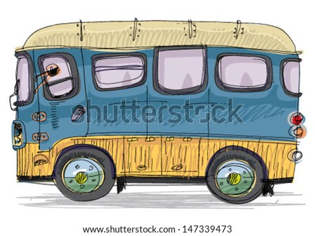 vintage bus   cartoon