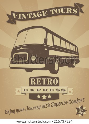 vintage bus retro advertising...