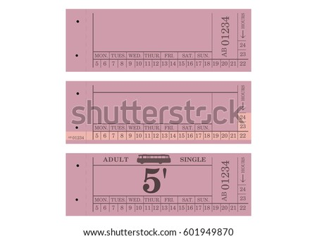 Vintage bus ticket with space for any text. Flat vector.