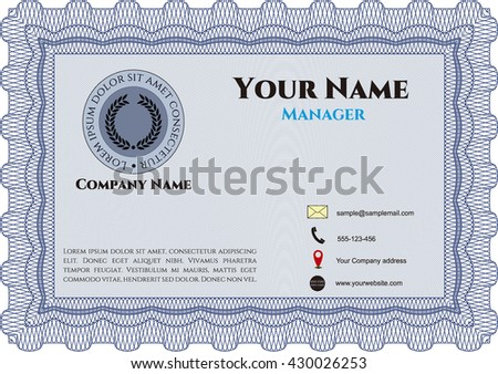 Vintage Business Card. Complex background. Lovely design. Customizable, Easy to edit and change colors.