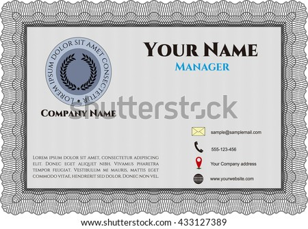 Vintage Business Card. Customizable, Easy to edit and change colors. Complex background. Lovely design.