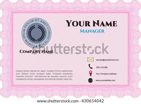 Vintage Business Card. Excellent design. Customizable, Easy to edit and change colors. With complex background.