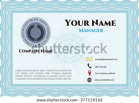 Vintage Business Card. With complex background. Customizable, Easy to edit and change colors. Excellent design.