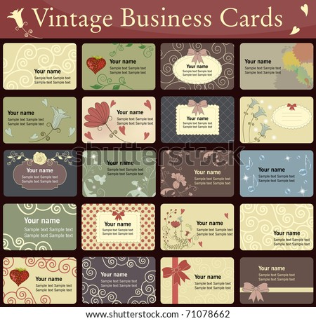 Vintage business cards collection. Beautiful harmonic colors.
