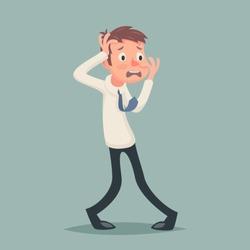 Vintage Businessman Suffer Emotion Fear Horror Depression Stress Character Icon Stylish Background Retro Cartoon Design Vector Illustration