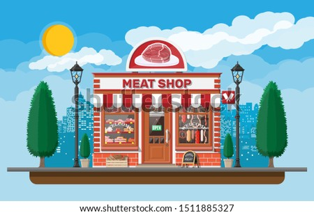 Vintage butcher shop store facade with storefront. Meat street market. Meat store stall showcase counter. Sausage slices delicatessen gastronomic product of beef pork chicken. Flat vector illustration