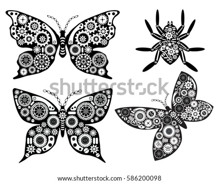 vintage butterfly and spider