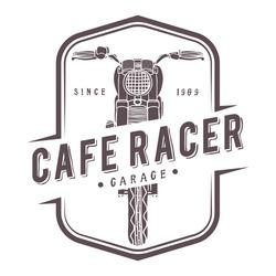 Vintage Cafe Racer Garage Emblem Badge Logo. Vector Hand Drawn
