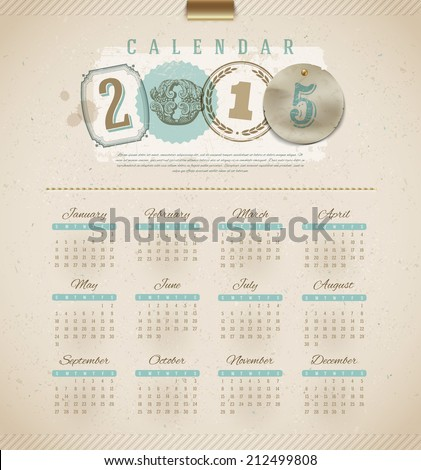 Vintage calendar 2015 vector illustration