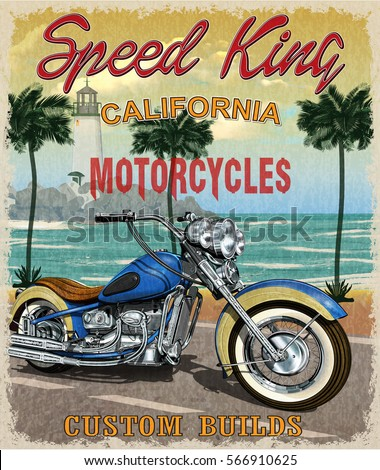 Vintage California motorcycle poster.