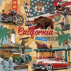 Vintage California poster with tourist attractions on  map silhouette background.