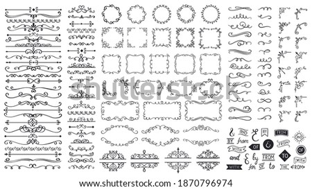 Vintage calligraphic elements. Decorative frames, flourish dividers, borders. Beautiful swirls, sinks decorated with motifs and scrolls. Circle, square and rectangular frames for cards vector