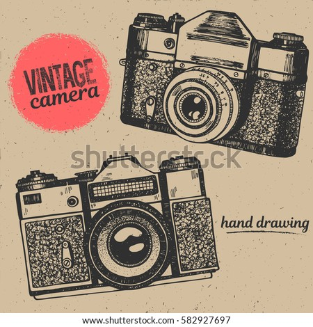 Vintage camera hand drawing illustration